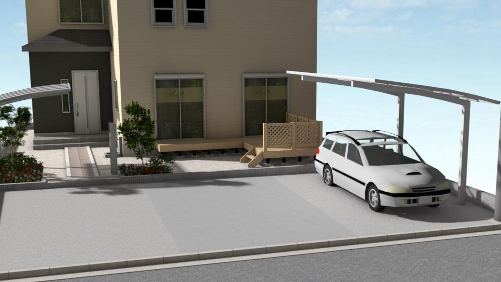 1台用のカーポートを含んだ駐車場